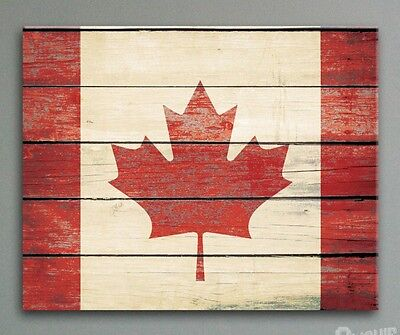Canada Flag Canvas - Rustic Distressed Wood Look