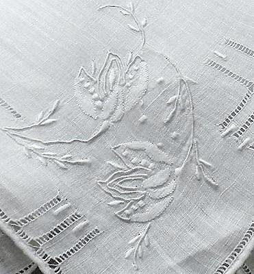 Antique Madeira Embroidery Linen Hanky - Delicate Floral 4 Corners & Drawnwork