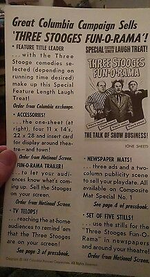 1959 Three Stooges vintage press book! FUN-O-RAMA