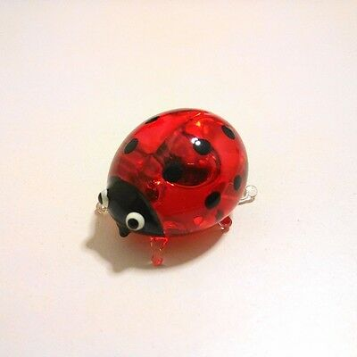 Red Ladybug Figurine Animal Hand Paint Blown Glass Decorate Collectible Gift