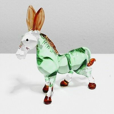 Green Donkey Figurine Animal Hand Paint Blown Glass Home Decor Collectible Gift