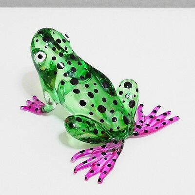 Green Toad Frog Figurine Animal Hand Blown Glass Gift Home Decor Collectible 1