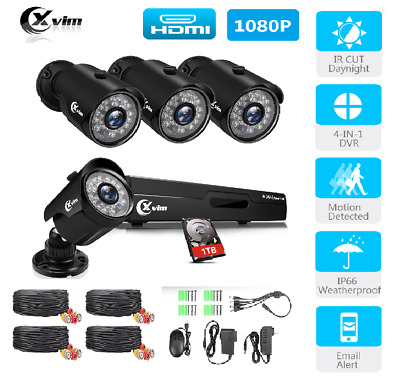 XVIM  8CH 1080N DVR Outdoor Security CCTV System Night Vision Camera 1TB HDD UK