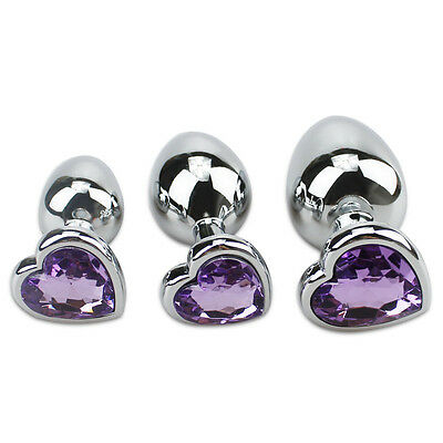 Plug Anal Butt Toy Stainless Steel Metal Jeweled Sexy Stopper Heart Shape Purple