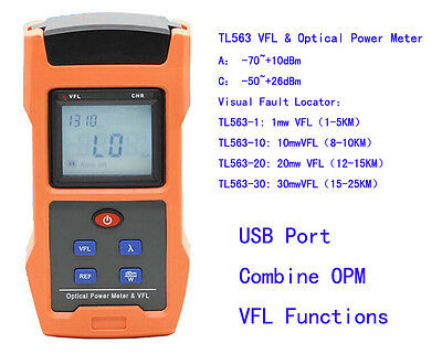 TL563 650nm VFL Visual Fault Locator 1mw 10mw 20mw 30mw +Optical Power Meter USB