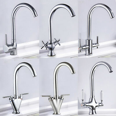 Kitchen Modern Sink Tap Single/Twin Lever Swivel Spout Mono Basin Mixer Taps