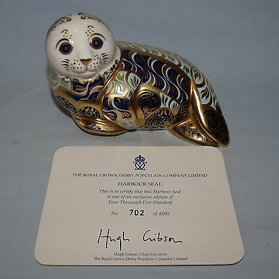 Royal Crown Derby paperweight Ltd Ed Harbour Seal Gold Stopper + cert + signed