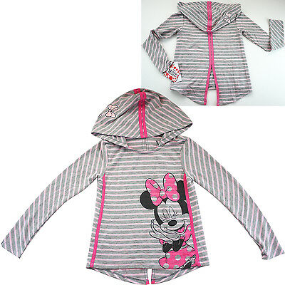 Girls Minnie Mouse stripe hoodie long sleeve top t-shirt tee jumper size 4-16new