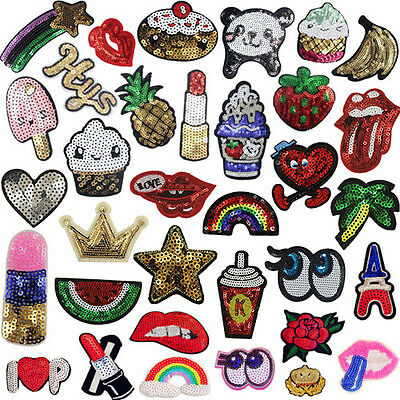 Cute Sequins Iron On Patches Clothes Badge Bag Applique DIY Craft