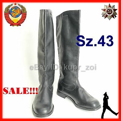 NEW Sz.43 WIDE Soviet Parade Chrome Leather Army Officer High Boots FREE SHIP