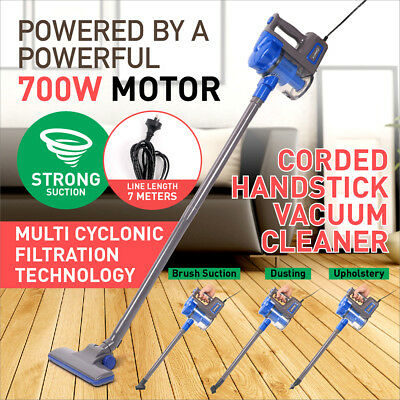 700W Powerful Vac Handstick Handheld Bagless Stick Vacuum Cleaner Blue