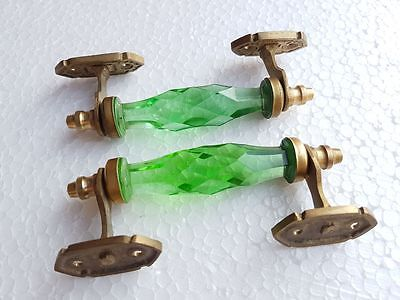 2 Pc Vintage Antique Style Crystal / Cut Glass Brass Fit Door Handle Collectible