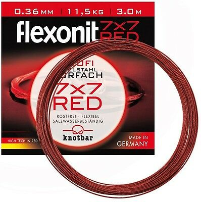 Flexonit RED 7x7 0.27 mm 6.8 Kg Stahlvorfach rostfrei,3,10,20 m GERMANY