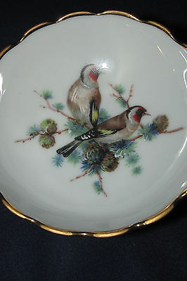 Vintage Limoges Monarch Footed Bowl Dish Birds in Pine Tree Branches France 9CmW