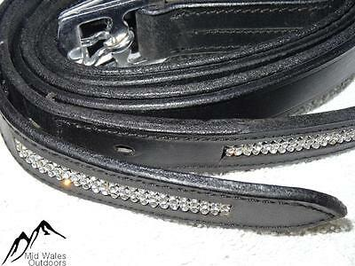 NEW Silver Crystal Bling Diamante Stirrup Leathers