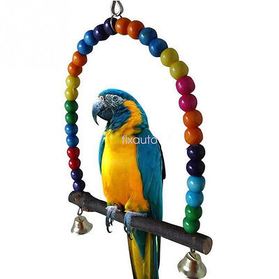 Pet Swing Wood Bird Parrot Cage Toys for Parakeet Cockatiel Cockatoo Conure f1w