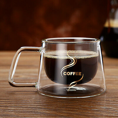 4/6PCS Double Walled Thermal Coffee Glass Tumbler Latte Cappuccino Cup Glasses