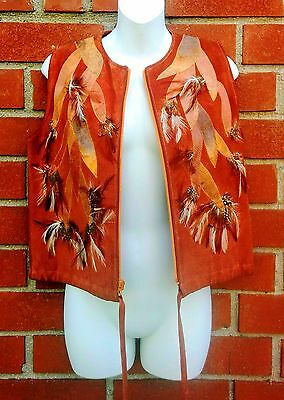 Vintage 70s Bohemian Hippie Leather Suede Vest REAL Lizard Skin & Feathers Sz M