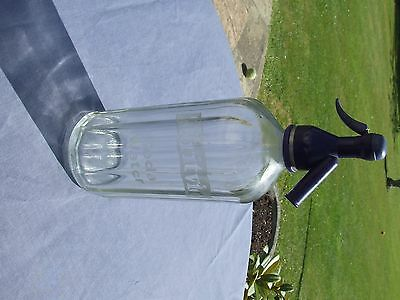 BRITVIC  Soda Water Syphon Clear glass marked BRITVIC CHELMSFORD