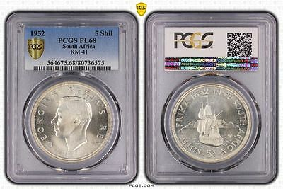 1952 PL68 South Africa 5 Shil KM-41 PCGS GRADED Proof Like FDC UNC
