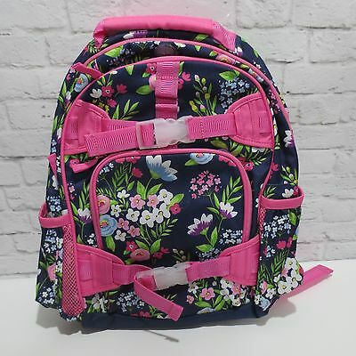 Pottery Barn Kids girls SMALL pink & navy blue floral bouquet flowers BACKPACK