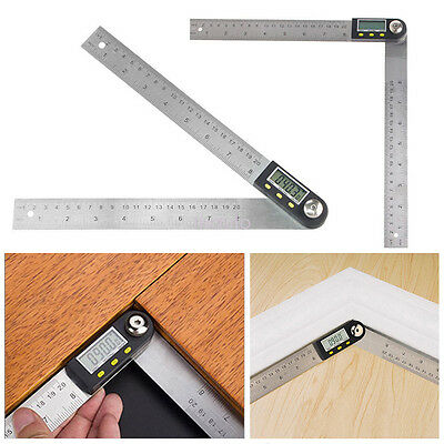 Stainless Steel Digital Angle Protractor Goniometer 200mm 8''  Finder Ruler fo