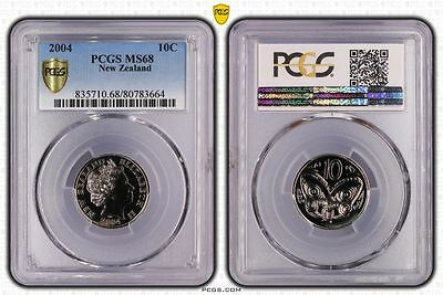 2004 MS68 New Zealand Ten Cent 10c PCGS GRADED FDC UNC