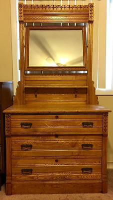 Early 1900's Honey Oak 3 Drawer Dovetail Dresser and Mirror with Flora... Lot 35