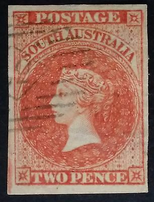 Rare 1856- South Australia 2 d Red Imperf First Sideface Stamp Used