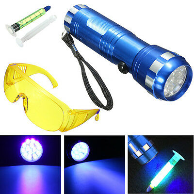 Leak Detector A/C Automotive Fluid Gas 14 LED UV Light & Safety Glasses 1 Set