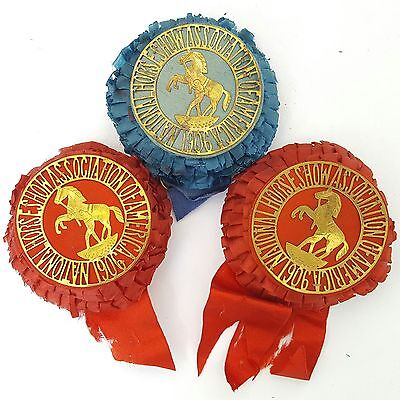 Antique 1906 NATIONAL HORSE SHOW ASSOCIATION of AMERICA 1 Blue & 2 Red Ribbons
