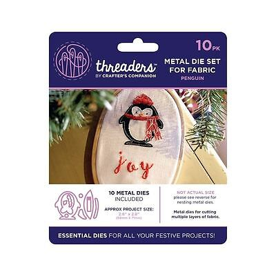 Threaders - Mixed Media Metal Card + Fabric Die Set - Christmas Penguin