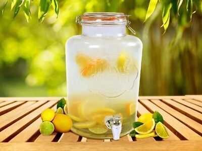 7.6L Glass Mason Jar with Tap & Clip Top Lid, Party Drinks Beverage Dispenser