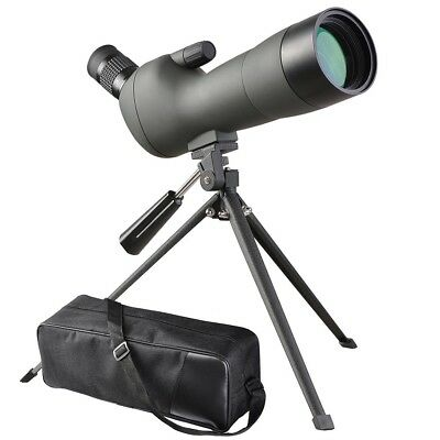 Spotting Scope Monocular Telescope 20-60x60mm Angled Zoom Tripod Soft Case Green