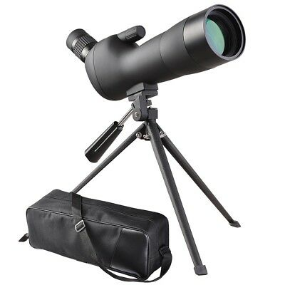 Black 20-60x60mm Angled Zoom Spotting Scope Monocular Telescope Tripod Soft Case