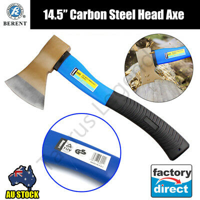 "14.5"" Axe Fibreglass Shaft Hatchet German Standard Finish Carbon Steel Head 600g"