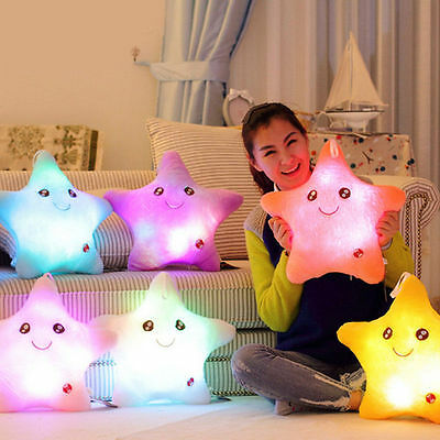 Kids Battery Glow Cotton Cushion with Smiling Star Design, Soft Light Up Pillow