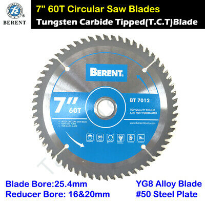 """BERENT 7"""" 60T YG8 Alloy Tipped 180mm Circular Saw Blade Cuts Wood Timber"""