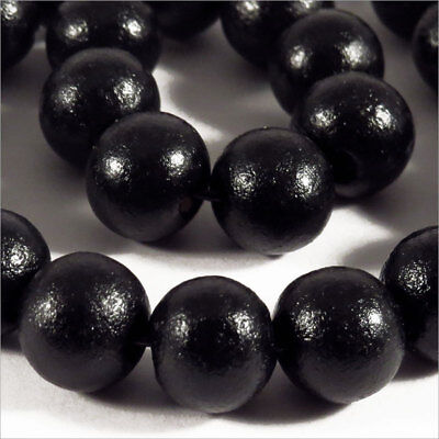 Lot of 50 round wooden beads 10mm Black High Quality