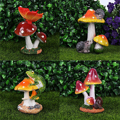 Snail Frog Mushroom Miniature Dollhouse Ornament Flower Craft Fairy Garden Decor