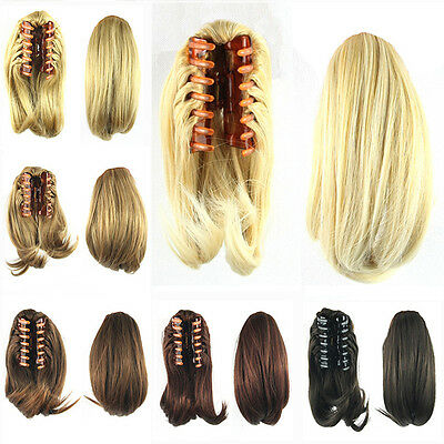 8 Colors 10inch Short Straight Claw Clip In Hair Ponytail With Drawstring