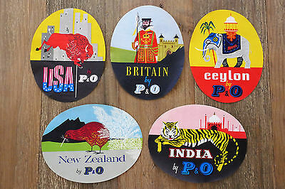 *RARE* 1950's P&O Orient Line Pictorial Baggage Labels