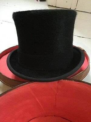 Antique Leather Hat Box With Herbert Johnson Top Hat Vgc