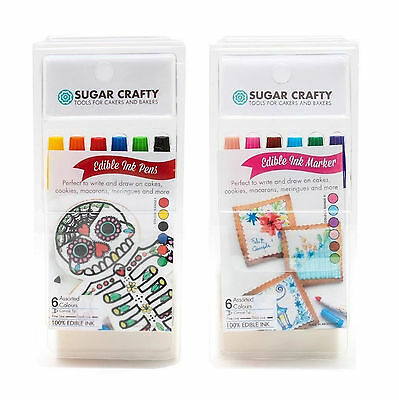 Sugar Crafty Edible Ink Markers / Pens (6 colours) - choice of 2 sets