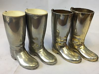 4 Vintage Silver Plated Boot Shaped Shot Cups