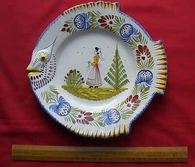 "Hb Henriot Quimper Pottery France 10"" Fish Plate Breton Woman In Mint Condition"