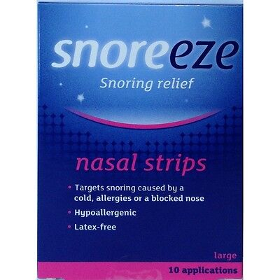 10 x (Snoreeze Snoring Relief Nasal Strips Large 10 Strips)