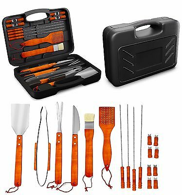 BBQ STAINLESS STEEL TOOL SET w Storage Case Barbeque Grill Cooking Brush 18 Pcs