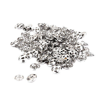 50 Sets Pack 10mm Invisible Silver Sew On Snaps Fastener Buttons Poppers Clothes