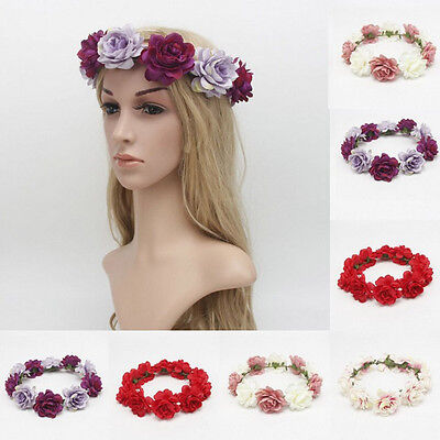 Women Big Flower Crown Festival Headband Wedding Garland Floral Hairband Party